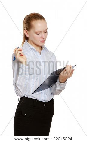 A businesswoman with a folder and a pen, isolated on white