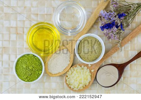 Australian Clay Powder, Organic Coconut oil - cold pressed Jojoba Golden Oil, Ground green tea leaves powder, Matcha Green tea scrub to make home spa beauty skin product
