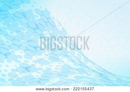 Abstract blue background with hexagon shapes different opacity and various silhouettes.