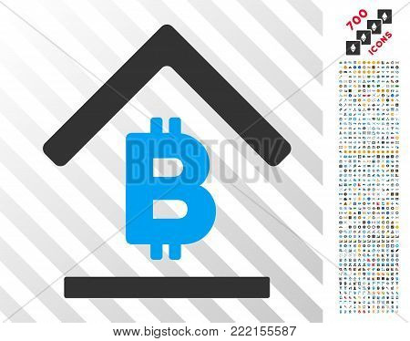 Bitcoin Bank Roof icon with 700 bonus bitcoin mining and blockchain design elements. Vector illustration style is flat iconic symbols design for bitcoin websites.