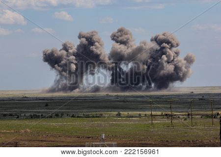 Explosion at a military training ground. Destruction of training objectives by aircraft bombs.