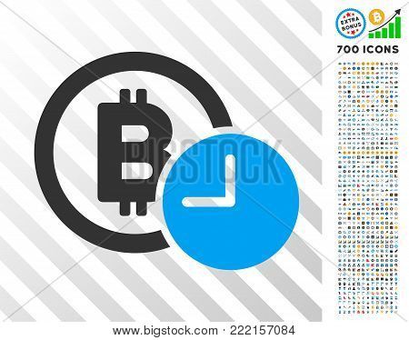 Bitcoin Credit Clock icon with 700 bonus bitcoin mining and blockchain symbols. Vector illustration style is flat iconic symbols design for bitcoin software.