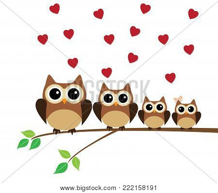 vector illustration of owl family in the tree with red hearts.