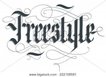 Freestyle lettering typography emblem, extreme sport t-shirt, bmx skateboard rider print, floristics calligraphy, athletic apparel, urban tee vector