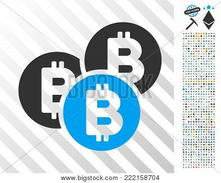 Bitcoin Coins icon with 700 bonus bitcoin mining and blockchain icons. Vector illustration style is flat iconic symbols design for bitcoin apps.