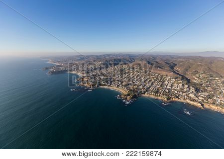 Aerial view of Laguna Beach and the pacific ocean coast in Orange County, California.