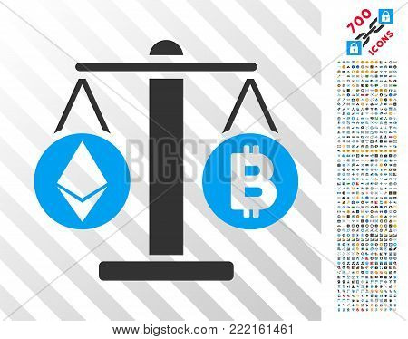 Cryptocurrency Weight pictograph with 7 hundred bonus bitcoin mining and blockchain icons. Vector illustration style is flat iconic symbols design for crypto currency software.