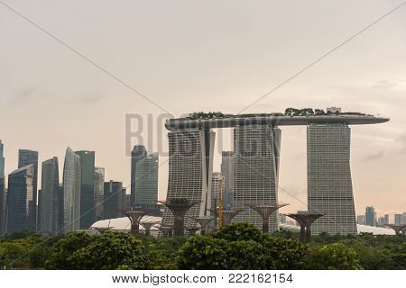 Marina Bay Sands, Singapore - May 23, 2017: Marina Bay Hotel View From Marina Barrage On Sunset Time