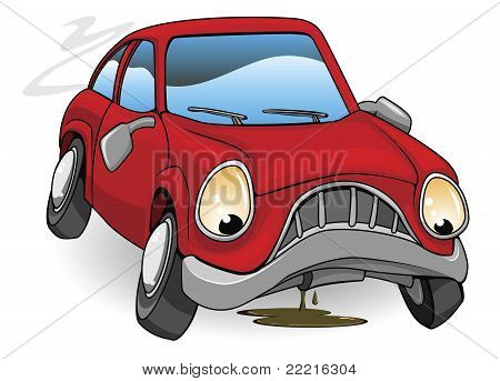 Sad Broken Down Cartoon Car