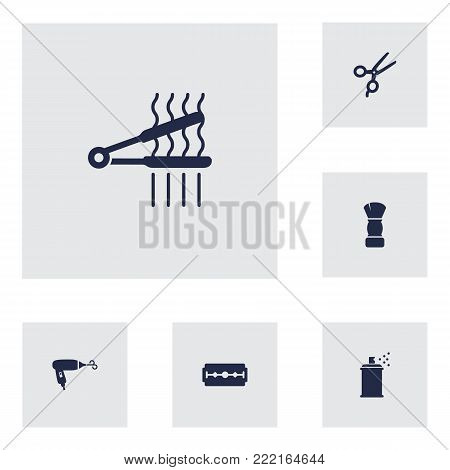 Collection Of Hairspray, Blow-Dryer, Razor And Other Elements.  Set Of 6 Hairdresser Icons Set.