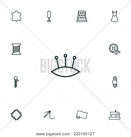 Collection Of Dress, Tremble, Dummy And Other Elements.  Set Of 13 Stitch Outline Icons Set.