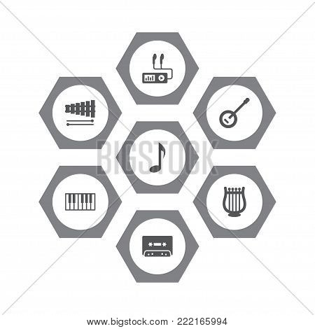 Collection Of Percussion, Lyre, Banjo And Other Elements.  Set Of 7 Music Icons Set.