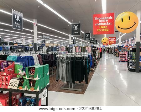 Park City, UT, January 2, 2018: View of the retail floor in a Walmart store.