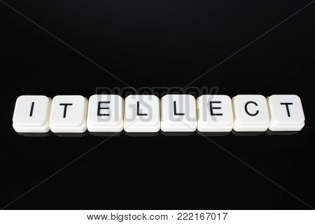 Intellect text word title caption label cover backdrop background. Alphabet letter toy blocks on black reflective background. White alphabetical letters. White educational toy block with words on mirror board table.