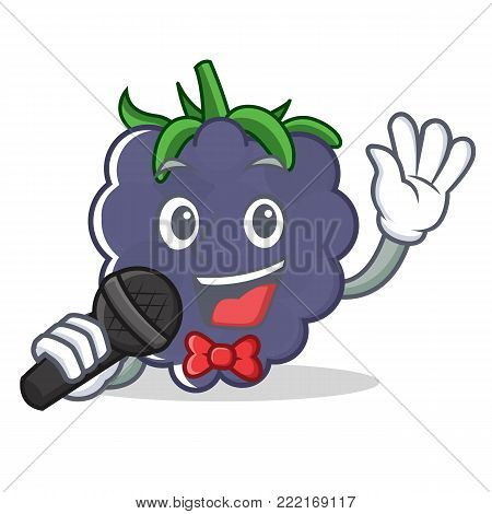 Singing blackberry mascot cartoon style vector illustration