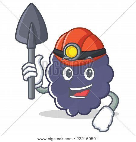Miner blackberry mascot cartoon style vector illustration