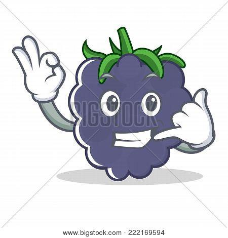 Call me blackberry mascot cartoon style vector illustration