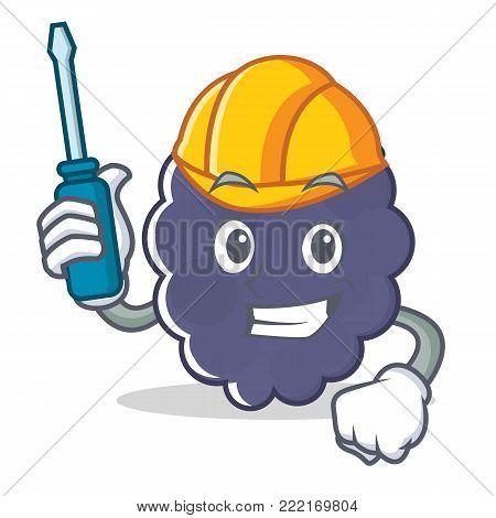 Automotive blackberry mascot cartoon style vector illustration