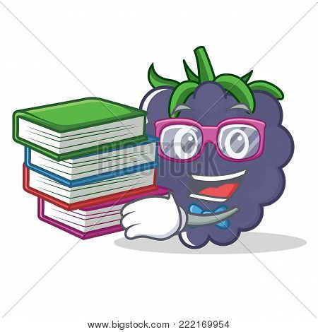 Student with book blackberry mascot cartoon style vector illustration