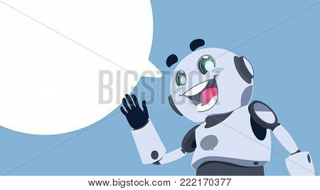 Cute Robot White Chat Bubble Chatbot Service, Chatter Or Chatterbot Technical Support App Concept Flat Vector Illustration