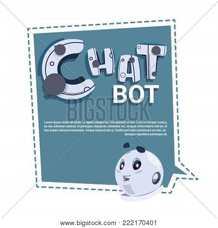Chat Bot Cute Robot Template Banner With Copy Space, Chatter Or Chatterbot Technical Support Service Concept Flat Vector Illustration
