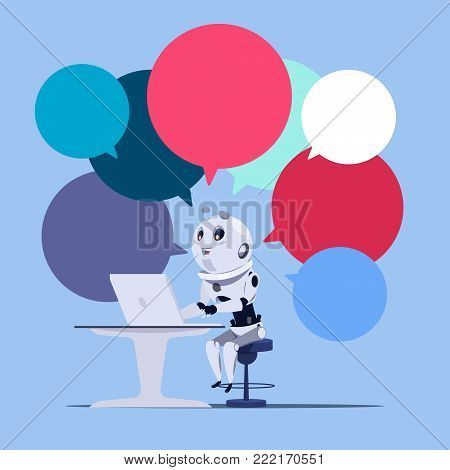 Chatbot Or Chatter App Cute Robot Use Laptop Computer Template Banner With Colorful Chat Bubbles Chatterbot Technology, Virtual Technical Support Service Concept Flat Vector Illustration
