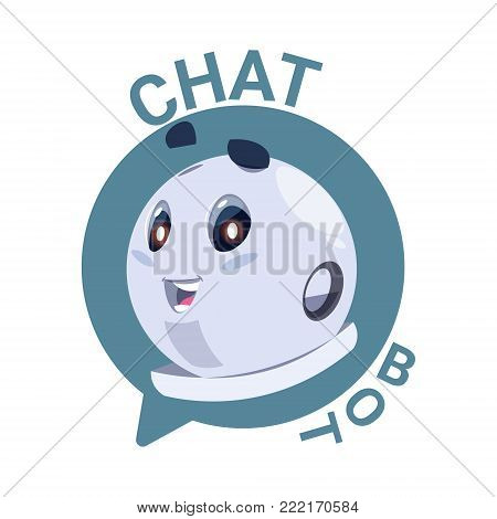 Chat Bot Icon Cute Robot Chatter Or Chatterbot Technical Support Virtual Service Concept Flat Vector Illustration