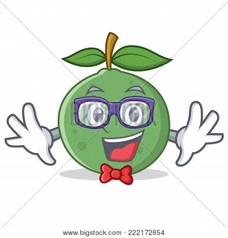 Geek guava character cartoon style vector illustration