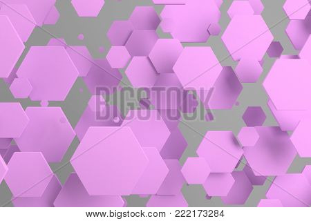 Violet Hexagons Of Random Size On White Background