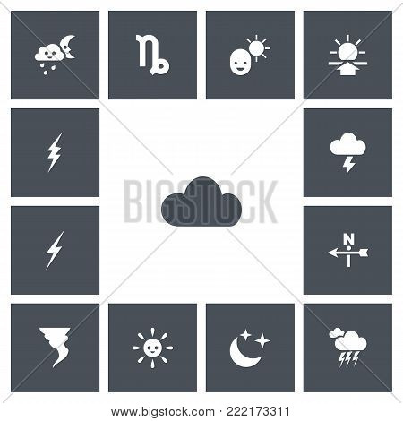 Set of 13 editable climate icons. Includes symbols such as wind direction, sunup, laughing solar and more. Can be used for web, mobile, UI and infographic design.