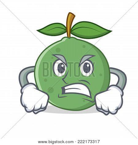 Angry guava mascot cartoon style vector illustration