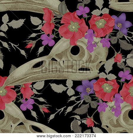Decorative composition on the theme of death. Seamless pattern with skulls, flowers and feathers of a raven on a black background.