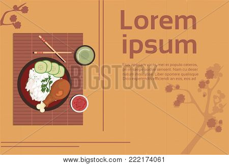 Korean Food Plate With Rice Chicken Spicy Sauces Asian Thai Dishes Top Angle View Template Natural Background Flat Vector Illustration
