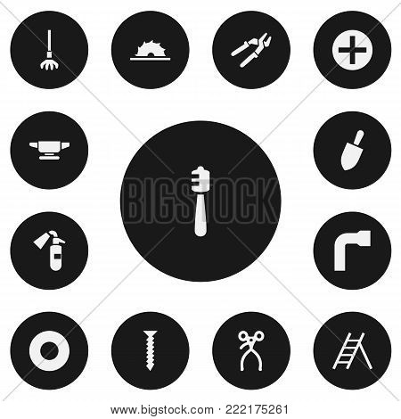 Set of 13 editable instrument icons. Includes symbols such as screw, spade, medical instrument and more. Can be used for web, mobile, UI and infographic design.
