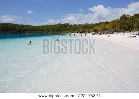 Awesome freshwater lake in Great Sandy National Park - Fraser Island, Lake McKenzie, QLD, Australia