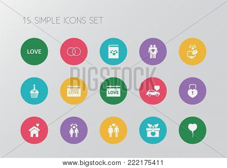 Set of 15 editable amour icons. Includes symbols such as banner, couple, gift and more. Can be used for web, mobile, UI and infographic design.