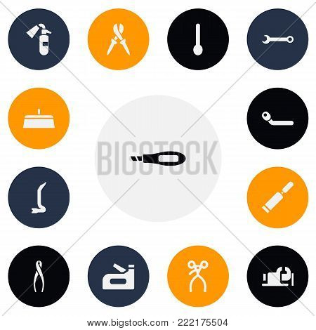 Set of 13 editable equipment icons. Includes symbols such as wrench, chisel scraper, wheel wrench and more. Can be used for web, mobile, UI and infographic design.