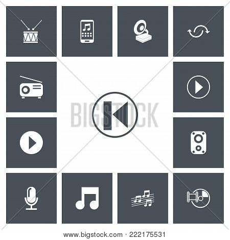 Set of 13 editable mp3 icons. Includes symbols such as music note, gramophone, megaphone and more. Can be used for web, mobile, UI and infographic design.