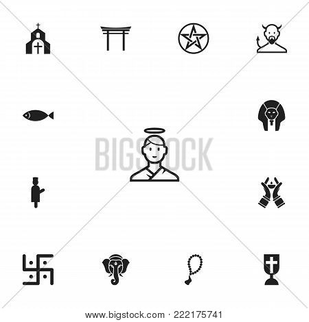 Set of 13 editable faith icons. Includes symbols such as imam, ichthys, swastika and more. Can be used for web, mobile, UI and infographic design.