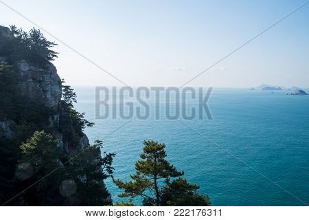 Mountaintop with pine tree, horizontal, islands and sea