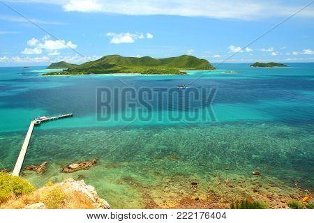 Beautiful blue seascape at Khao Ma Cho Pier Samaesan Chonburi province, Gulf of Thailand.