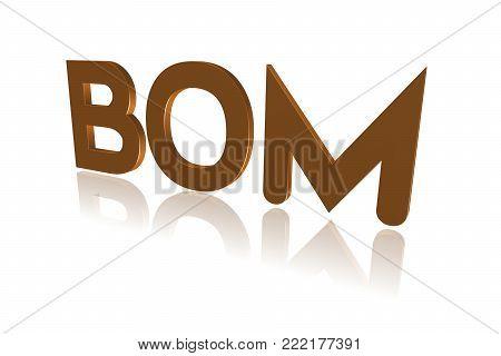 Programming Term - Bom - Byte Order Mark - 3d Image