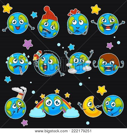 Earth cartoon emoji smiles of planet funny emoticons with different expressions. Vector isolated icons set of earth happy, sad or sick and smiling or laughing, playing with rocket and moon or rainbow