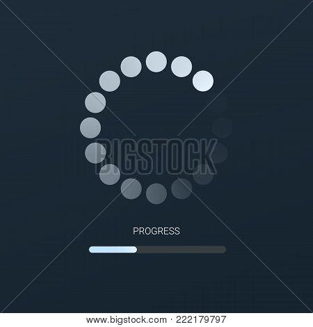 Load bar for mobile apps, web preloader on dark background. Radial load, update or download diagram icon of progress bar, minimal flat design.