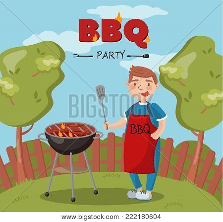 Young man cooking barbecue on the backyard n summer vacation, BBQ party vector Illustration with flaming grill, colorful design element for poster or banner