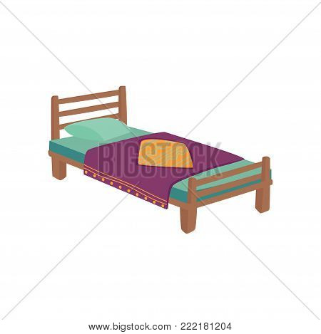 Wooden bed for kids with pillow and purple blanket cartoon vector Illustration on a white background