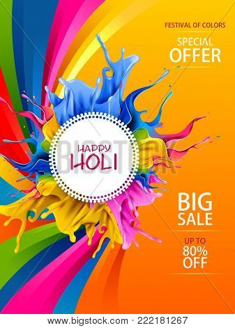 easy to edit vector illustration of Colorful Happy Hoil Sale Promotion Shopping Advertisement background for festival of colors in India