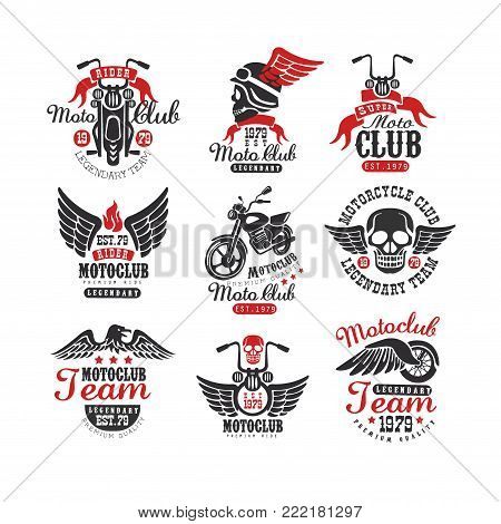 Collection of vintage motorcycle club logos, emblems, labels, badges. Original monochrome elements with motorbike, skull, eagle and wheel with wing. Isolated vector design for t-shirt print or poster.