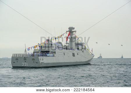 Pattaya, Thailand - November 20, 2017, Navy warship running on sea on the 50th anniversary ASEAN international fleet review 2017 in Pattaya, Thailand