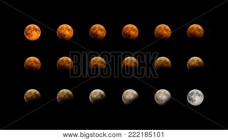 Partial eclipse of the red moon in different phases. Real photos of the eclipse on August 7, 2017.